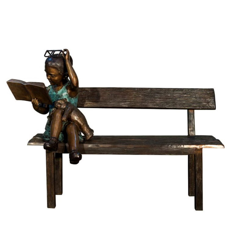 SRB097134 Bronze Girl Reading Book on Bench Sculpture Metropolitan Galleries Inc.