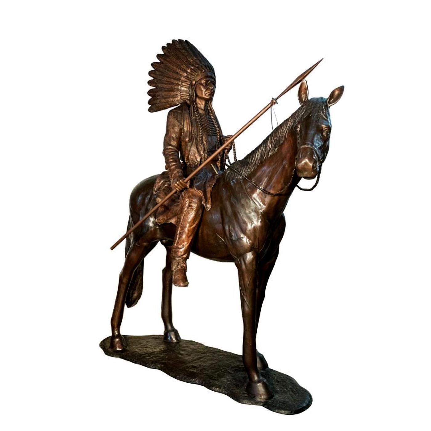 Bronze Indian On Horse Sculpture Metropolitan Galleries Inc