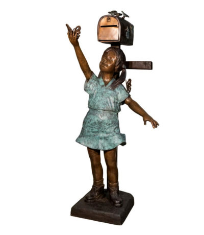 SRB097180 Bronze Girl with Butterflies Mailbox Metropolitan Galleries Inc.