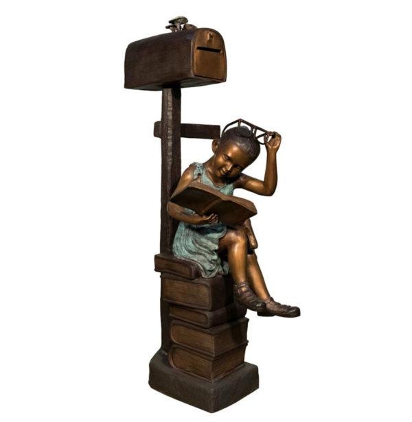 SRB097182 Bronze Girl Reading Book Mailbox Metropolitan Galleries Inc.
