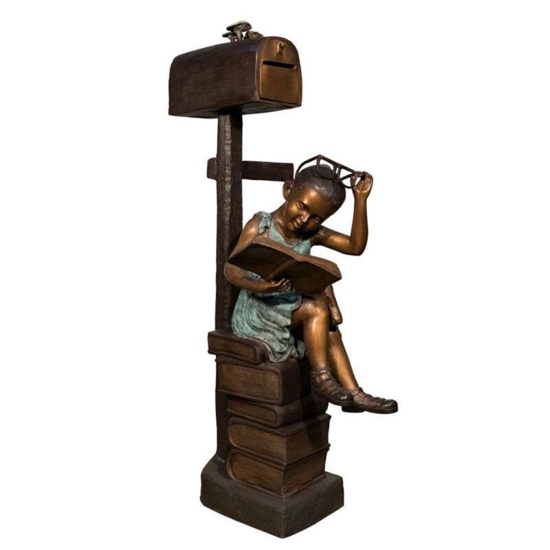SRB097182 Bronze Girl Reading Book Mailbox Metropolitan Galleries Inc.