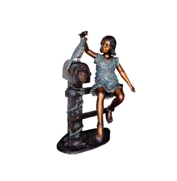 SRB705931 Bronze Girl on Fence with Bird Mailbox Metropolitan Galleries Inc.