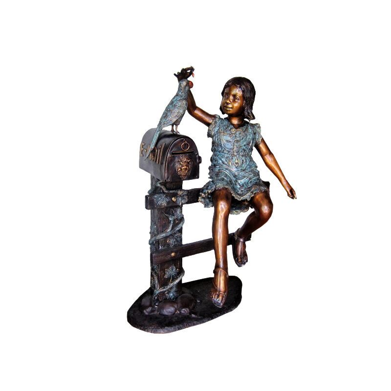SRB705931 Bronze Girl on Fence with Bird Mailbox Metropolitan Galleries Inc.