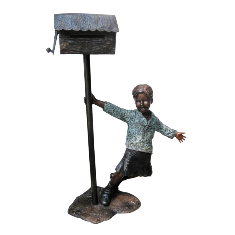 SRB706755 Bronze Boy holding Mailbox Metropolitan Galleries Inc.