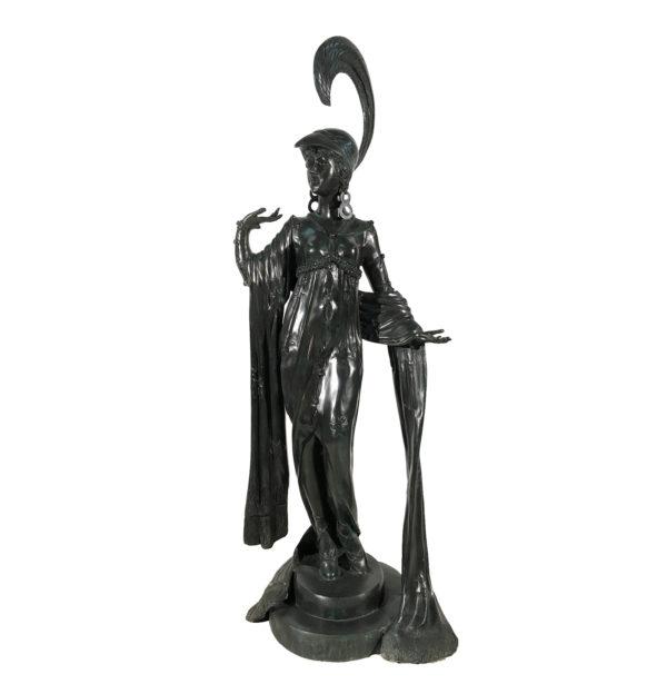 SRB991943 Bronze 1900's Art Deco Lady Sculpture Metropolitan Galleries Inc