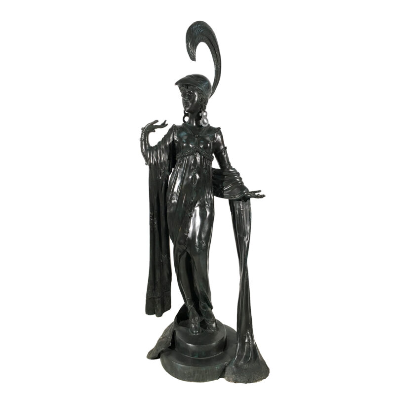 SRB991943 Bronze 1900's Art Deco Lady Sculpture Metropolitan Galleries Inc