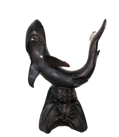SRB10022 Bronze Shark Fountain Sculpture Metropolitan Galleries Inc.
