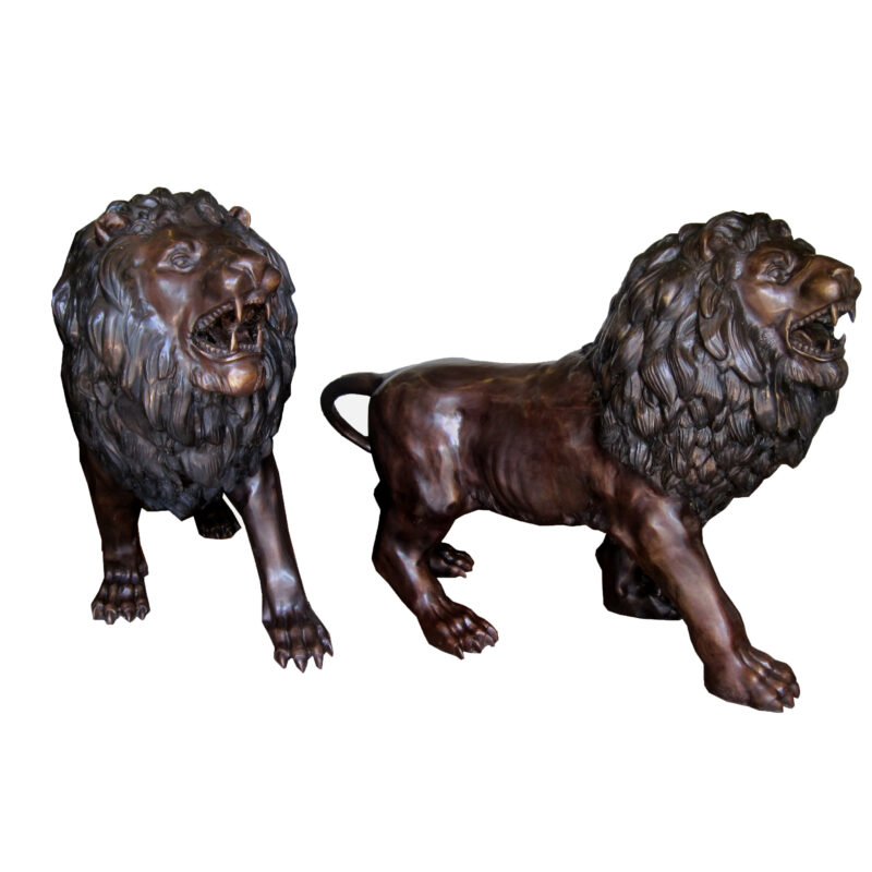 SRB706903 Bronze Walking Lions Sculpture Pair Metropolitan Galleries Inc.