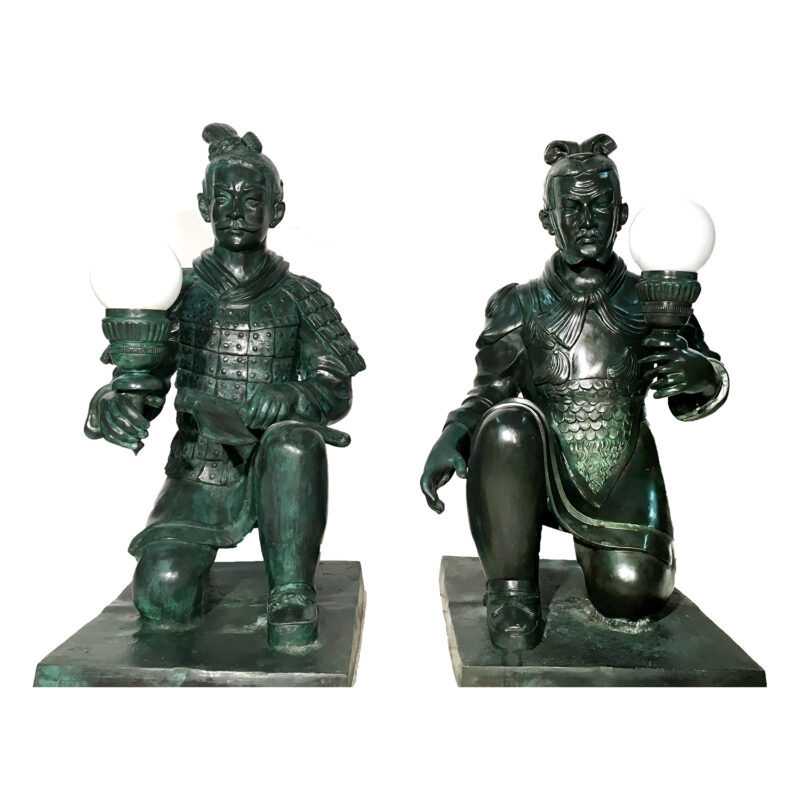 SRB991906-07 Bronze Chinese Warrior Sculpture Set Metropolitan Galleries Inc.