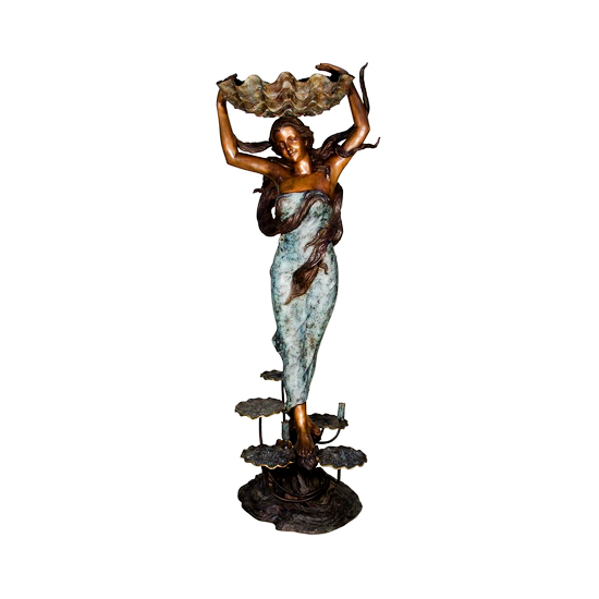 SRB084059 Bronze Standing Woman holding Shell Sculpture Metropolitan Galleries Inc