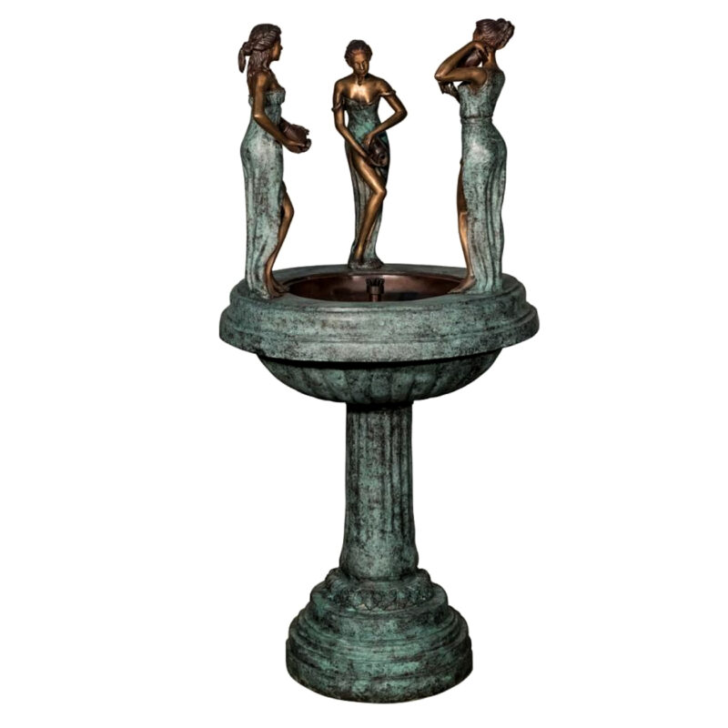 SRB022038 Bronze Lady Musicians Pedestal Fountain Metropolitan Galleries Inc.