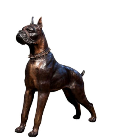 SRB043909 Bronze Boxer Dog Sculpture Metropolitan Galleries Inc.