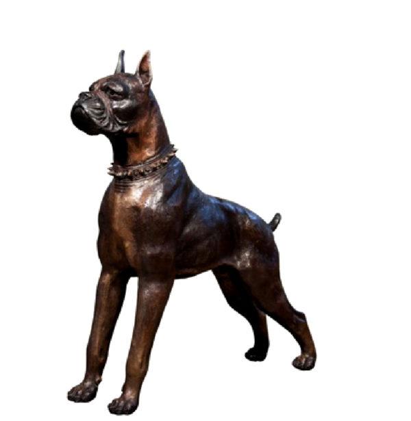 SRB043909 Bronze Boxer Dog Sculpture Metropolitan Galleries Inc.