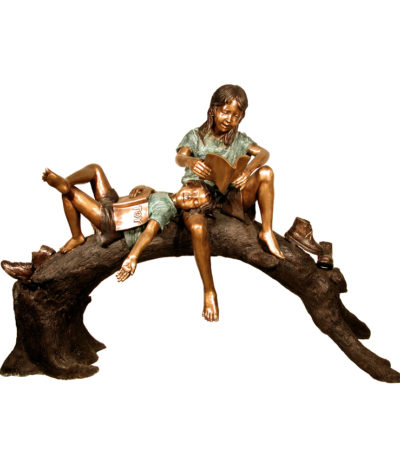 SRB050190 Bronze Kids Reading on Tree Log Sculpture Metropolitan Galleries Inc.