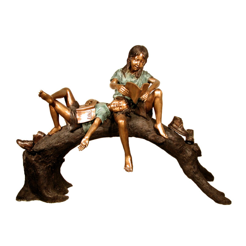 SRB050190 Bronze Kids Reading on Tree Log Sculpture Metropolitan Galleries Inc.