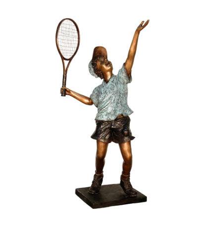 SRB050345 Bronze Boy Playing Tennis Sculpture Metropolitan Galleries Inc.