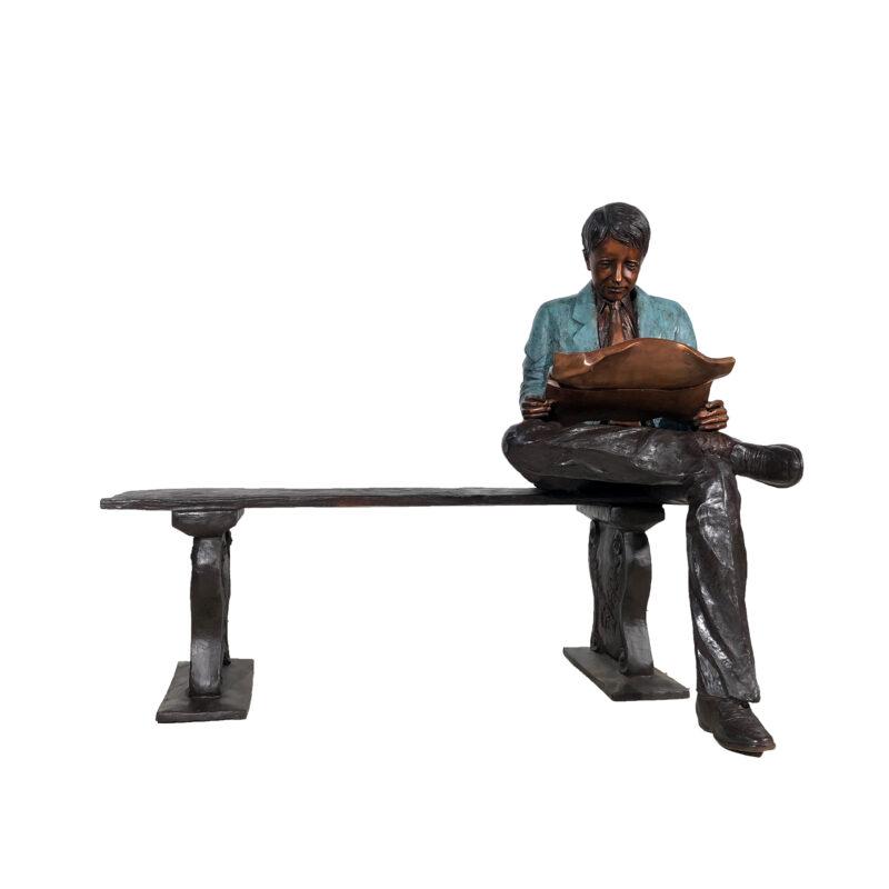 SRB050439 Bronze Man Reading Newspaper on Bench Sculpture by Metropolitan Galleries Inc