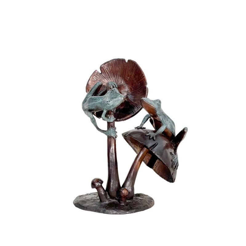 SRB050550 Bronze Two Frogs on Mushrooms Sculpture by Metropolitan Galleries Inc