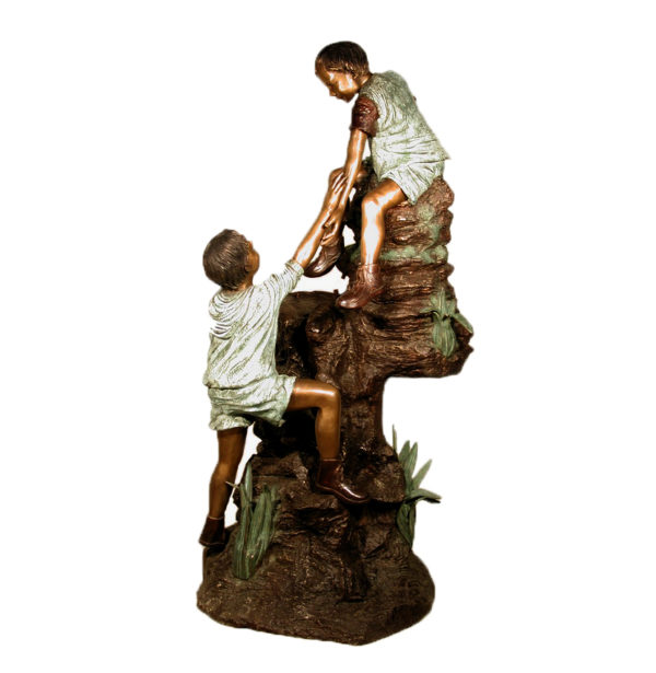 SRB052160. Bronze Boys on Rock Fountain Sculpture Metropolitan Galleries Inc.