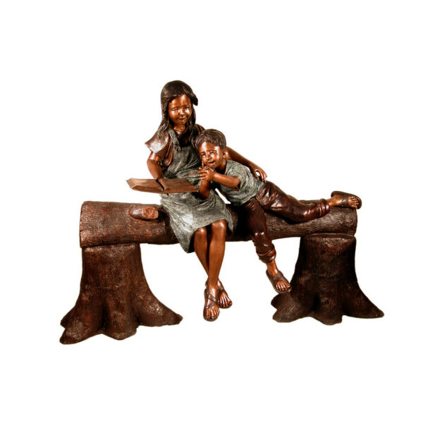 SRB057225 Bronze Children on Tree Log Sculpture Metropolitan Galleries Inc.