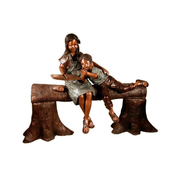 SRB057225 Bronze Children on Tree Log Sculpture Metropolitan Galleries Inc.