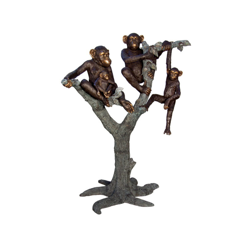 SRB057332 Bronze Chimpanzee Family in Tree Sculpture by Metropolitan Galleries Inc