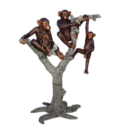 SRB057332 Bronze Monkeys in Tree Sculpture Metropolitan Galleries Inc.