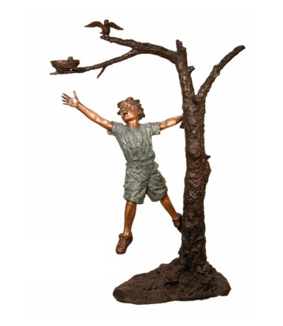SRB084019 Bronze Boy & Birds Nest in Tree Sculpture Metropolitan Galleries Inc.