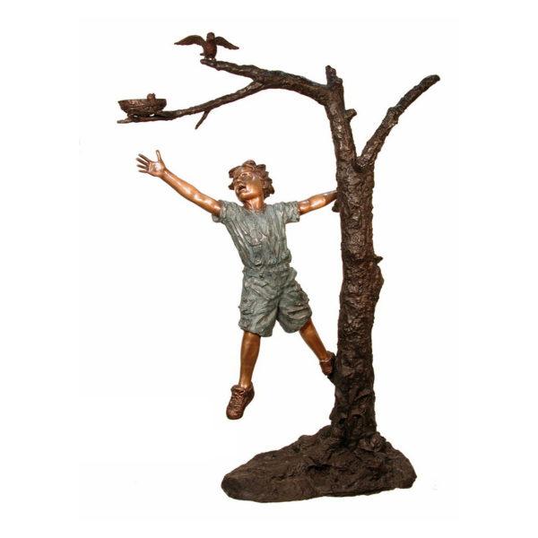 SRB084019 Bronze Boy & Birds Nest in Tree Sculpture Metropolitan Galleries Inc.