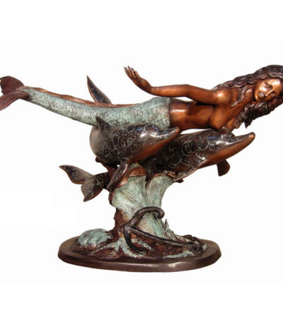 SRB094014 Bronze Mermaid & Dolphin Table Base Metropolitan Galleries Inc.