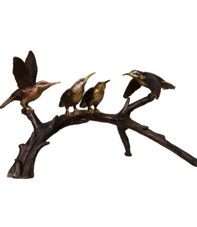 SRB097028 Bronze Hummingbirds on Branch Sculpture Metropolitan Galleries Inc.
