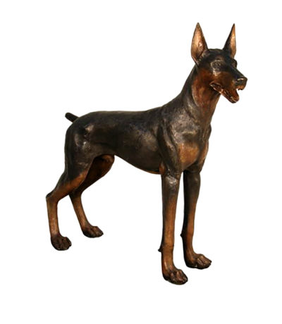 SRB50322 Bronze Standing Doberman Dog Sculpture Metropolitan Galleries Inc