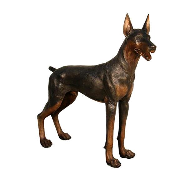 SRB50322 Bronze Standing Doberman Dog Sculpture Metropolitan Galleries Inc