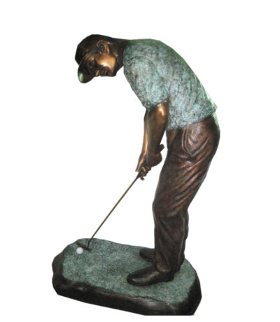 SRB701045C Bronze Golfer Putting Sculpture