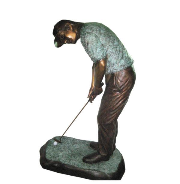 SRB701045C Bronze Golfer Putting Sculpture