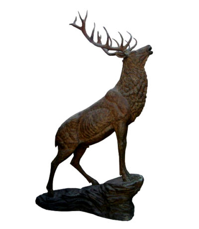 SRB702784 Bronze Stag on Rock Sculpture Metropolitan Galleries Inc