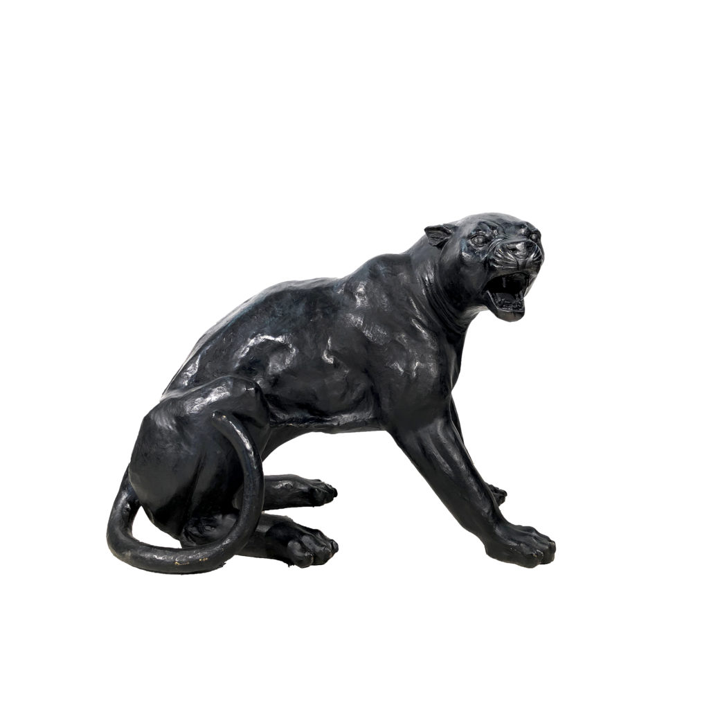 Bronze Fighting Black Panther Sculpture Right