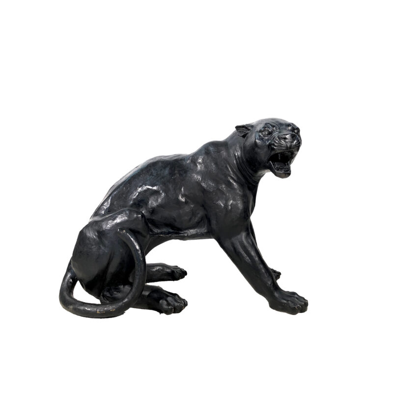 SRB702860-B Bronze Fighting Black Panther Sculpture by Metropolitan Galleries Inc Head Facing Right