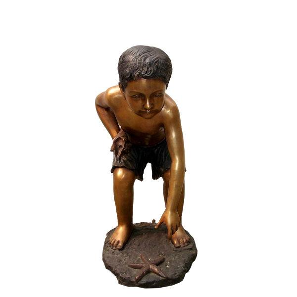 SRB705316 Bronze Boy reaching for Starfish Sculpture Metropolitan Galleries Inc.
