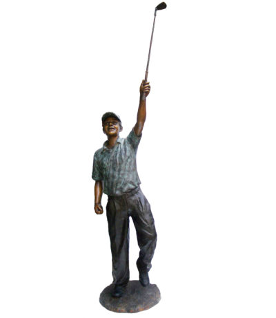 SRB705752 Bronze Golfer holding Club Up Sculpture Metropolitan Galleries Inc.