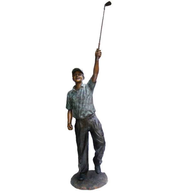 SRB705752 Bronze Golfer holding Club Up Sculpture Metropolitan Galleries Inc.