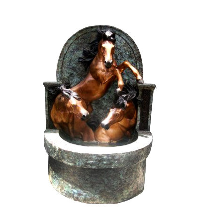 SRB705952 Bronze Three Horses Wall Fountain Metropolitan Galleries Inc.