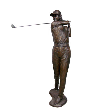 SRB706014 Bronze Female Golfer Sculpture Metropolitan Galleries Inc.
