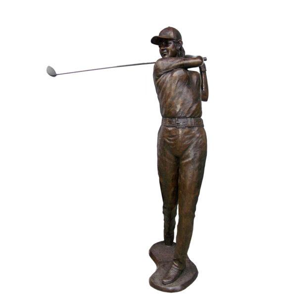 SRB706014 Bronze Female Golfer Sculpture Metropolitan Galleries Inc.