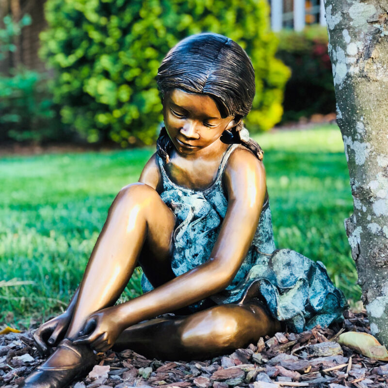 SRB706042 Bronze Ballerina fixing Shoe Sculpture in Garden Metropolitan Galleries Inc.