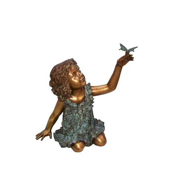 SRB706046 Bronze Sitting Girl holding Butterfly Sculpture Metropolitan Galleries Inc.