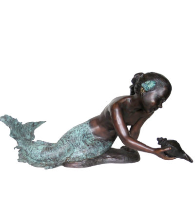 SRB706908 Bronze Girl holding Shell Sculpture Metropolitan Galleries Inc.