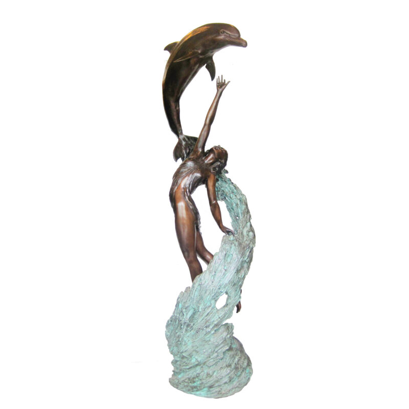 SRB706916 Bronze Lady on Wave with Dolphin Sculpture Metropolitan Galleries Inc.