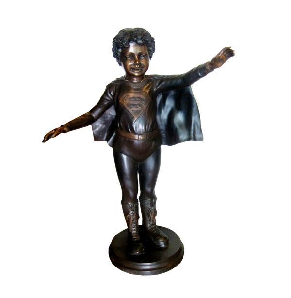 SRB707042 Bronze Super Boy with Cape Sculpture Metropolitan Galleries Inc.