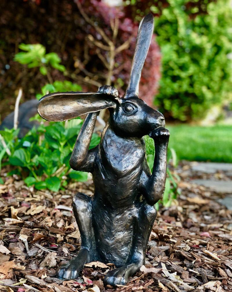 SRB707232 Bronze Pondering Bunny Rabbit Sculpture Metropolitan Galleries Inc.